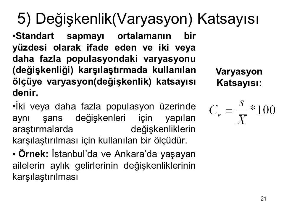 5) Değişkenlik(Varyasyon) Katsayısı