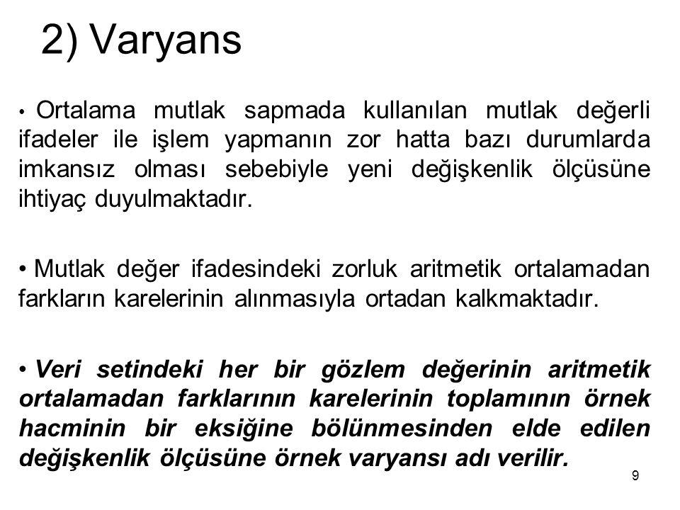 2) Varyans