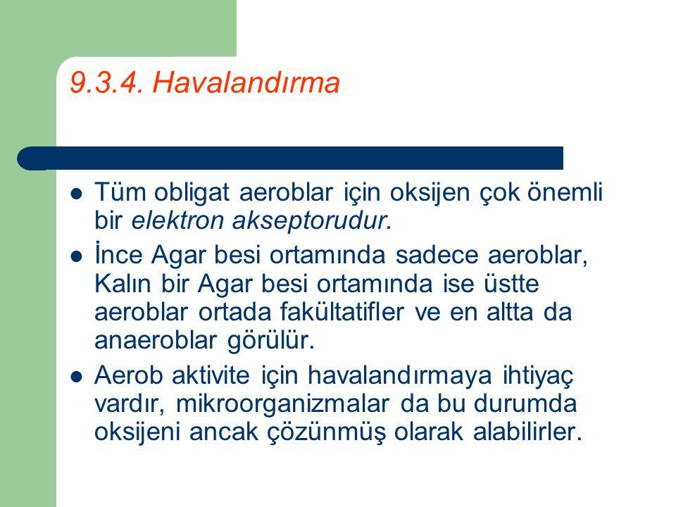 9.3.4. Havalandırma Tüm obligat aeroblar için oksijen çok önemli bir elektron akseptorudur.