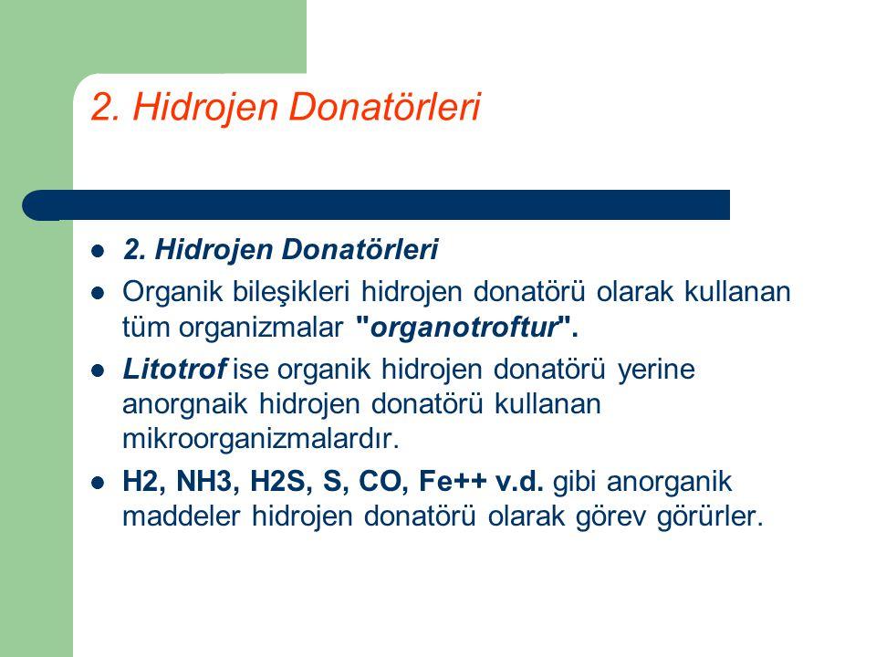 2. Hidrojen Donatörleri 2. Hidrojen Donatörleri