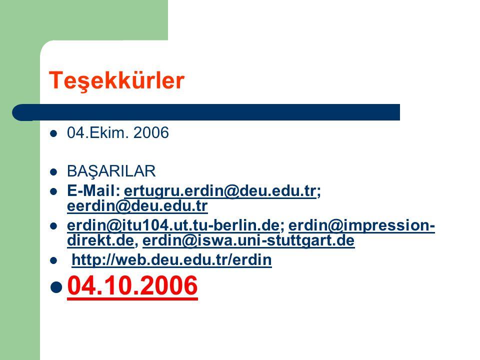 04.10.2006 Teşekkürler 04.Ekim. 2006 BAŞARILAR