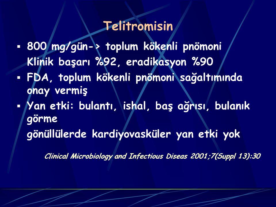 Telitromisin 800 mg/gün-> toplum kökenli pnömoni