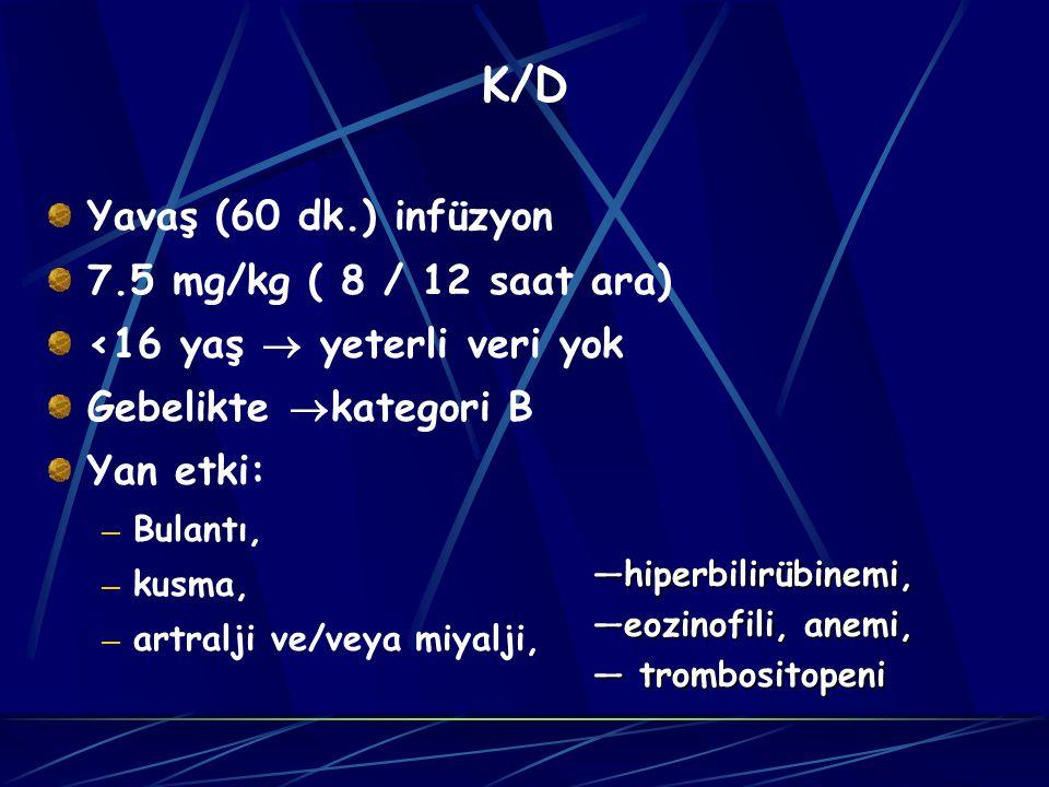 K/D Yavaş (60 dk.) infüzyon 7.5 mg/kg ( 8 / 12 saat ara)