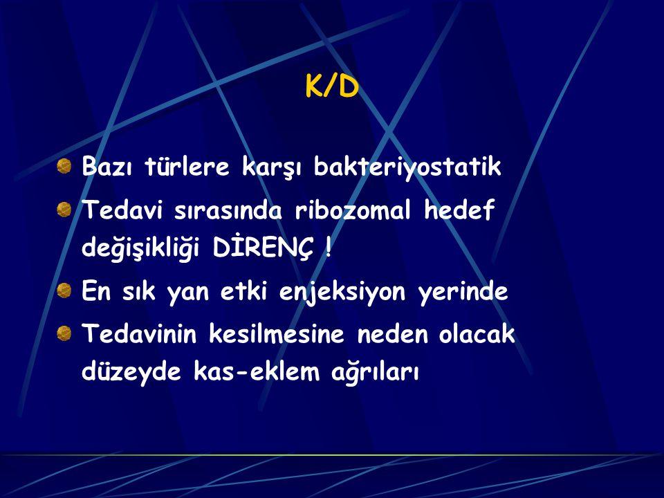 K/D Bazı türlere karşı bakteriyostatik