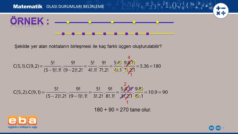 ÖRNEK : 180 + 90 = 270 tane olur. OLASI DURUMLARI BELİRLEME