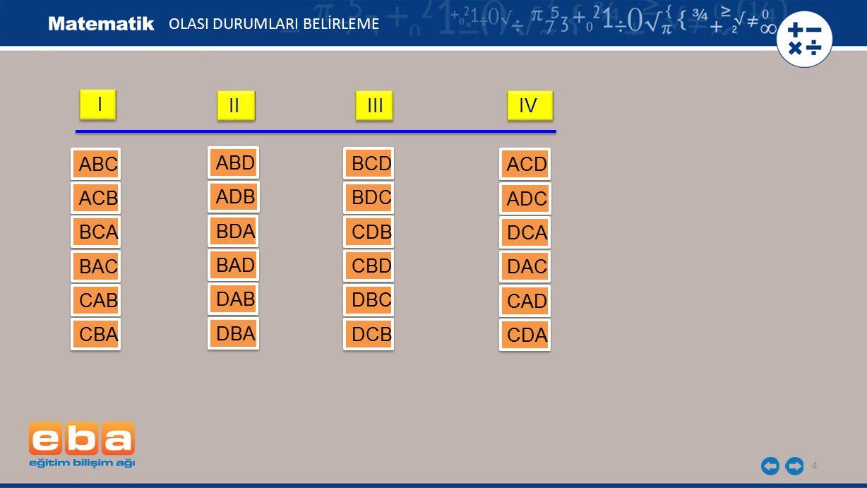 I II III IV ABC ABD BCD ACD ACB ADB BDC ADC BCA BDA CDB DCA BAC BAD