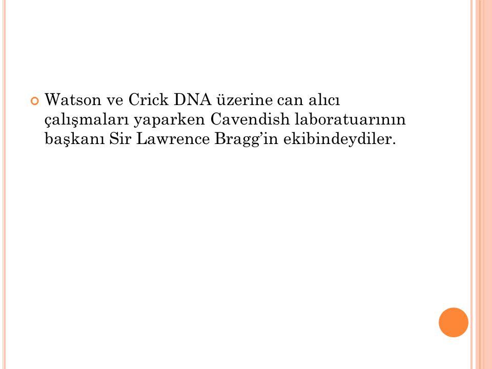 Watson ve Crick DNA üzerine can alıcı çalışmaları yaparken Cavendish laboratuarının başkanı Sir Lawrence Bragg'in ekibindeydiler.