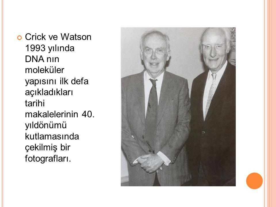 Crick ve Watson 1993 yılında DNA nın moleküler yapısını ilk defa açıkladıkları tarihi makalelerinin 40.