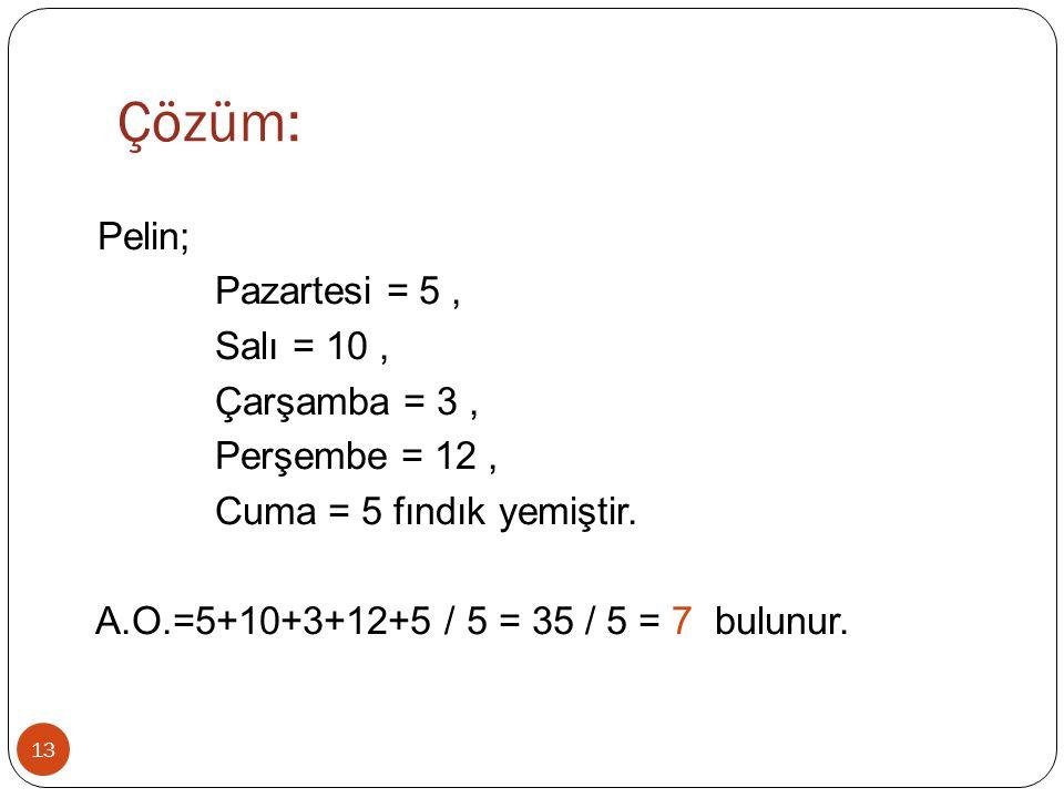Çözüm: Pelin; Pazartesi = 5 , Salı = 10 , Çarşamba = 3 , Perşembe = 12 , Cuma = 5 fındık yemiştir.
