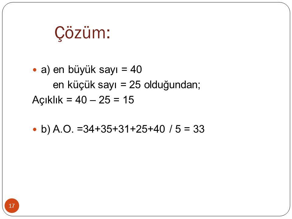 Çözüm: a) en büyük sayı = 40 en küçük sayı = 25 olduğundan;