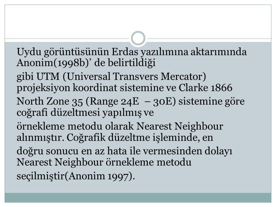 Uydu görüntüsünün Erdas yazılımına aktarımında Anonim(1998b)' de belirtildiği gibi UTM (Universal Transvers Mercator) projeksiyon koordinat sistemine ve Clarke 1866 North Zone 35 (Range 24E – 30E) sistemine göre coğrafi düzeltmesi yapılmış ve örnekleme metodu olarak Nearest Neighbour alınmıştır.