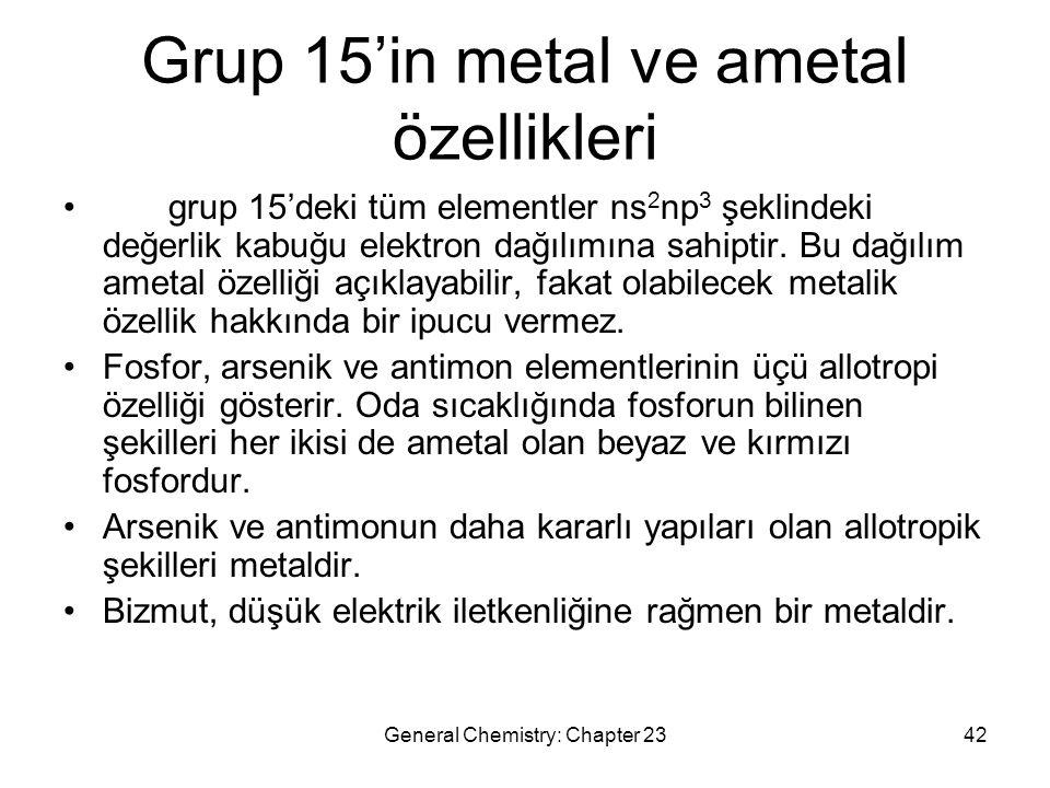 Grup 15'in metal ve ametal özellikleri
