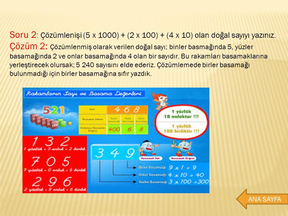 Soru 2: Çözümlenişi (5 x 1000) + (2 x 100) + (4 x 10) olan doğal sayıyı yazınız.