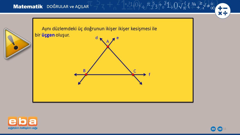 Aynı düzlemdeki üç doğrunun ikişer ikişer kesişmesi ile