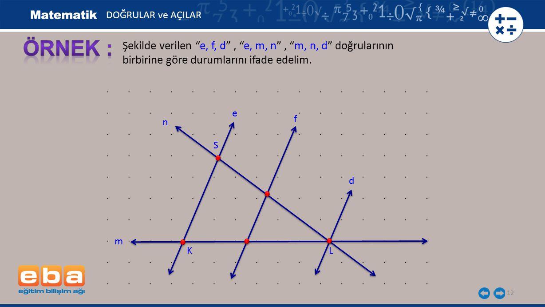 DOĞRULAR ve AÇILAR ÖRNEK : Şekilde verilen e, f, d , e, m, n , m, n, d doğrularının birbirine göre durumlarını ifade edelim.