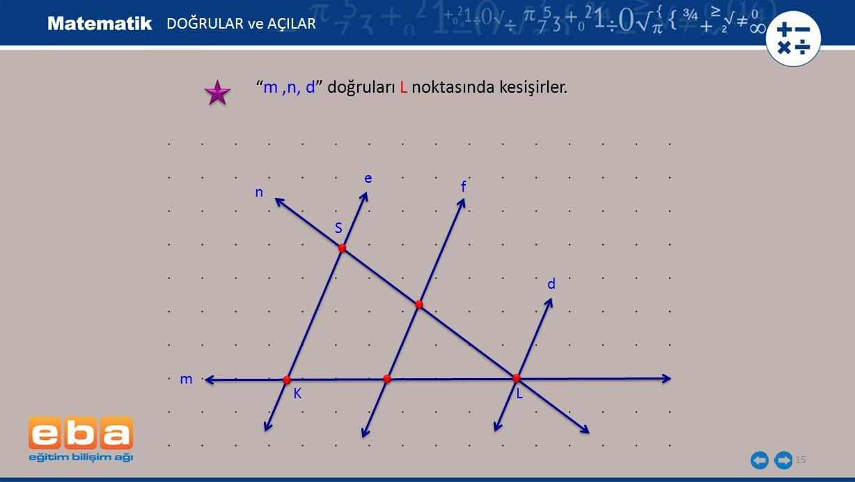 m ,n, d doğruları L noktasında kesişirler.