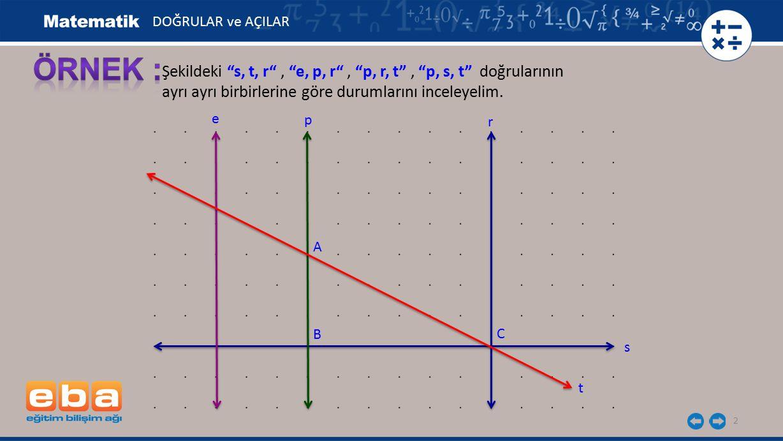 DOĞRULAR ve AÇILAR ÖRNEK : Şekildeki s, t, r , e, p, r , p, r, t , p, s, t doğrularının.