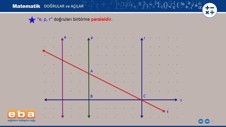 e, p, r doğruları birbirine paraleldir.