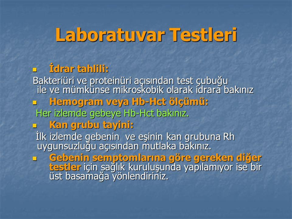 Laboratuvar Testleri İdrar tahlili: