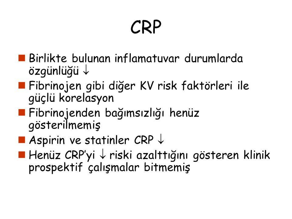 CRP Birlikte bulunan inflamatuvar durumlarda özgünlüğü 