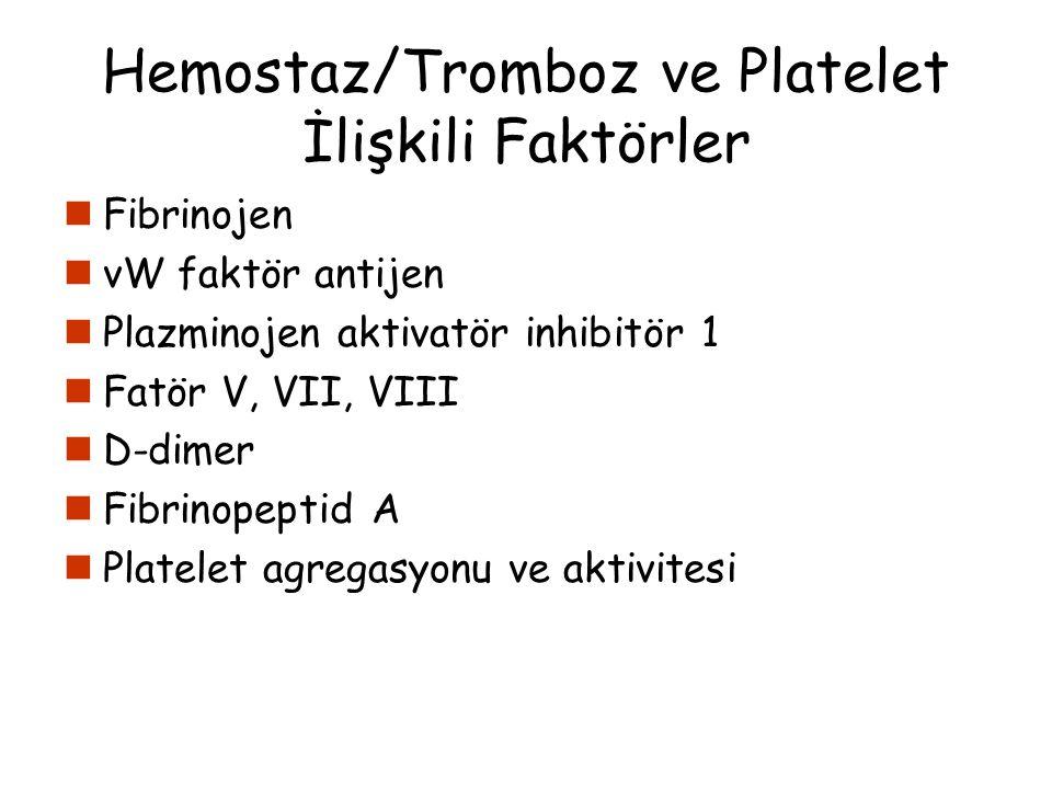 Hemostaz/Tromboz ve Platelet İlişkili Faktörler