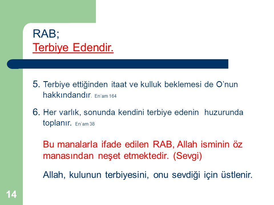 RAB; Terbiye Edendir. 5. Terbiye ettiğinden itaat ve kulluk beklemesi de O'nun hakkındandır. En'am 164.