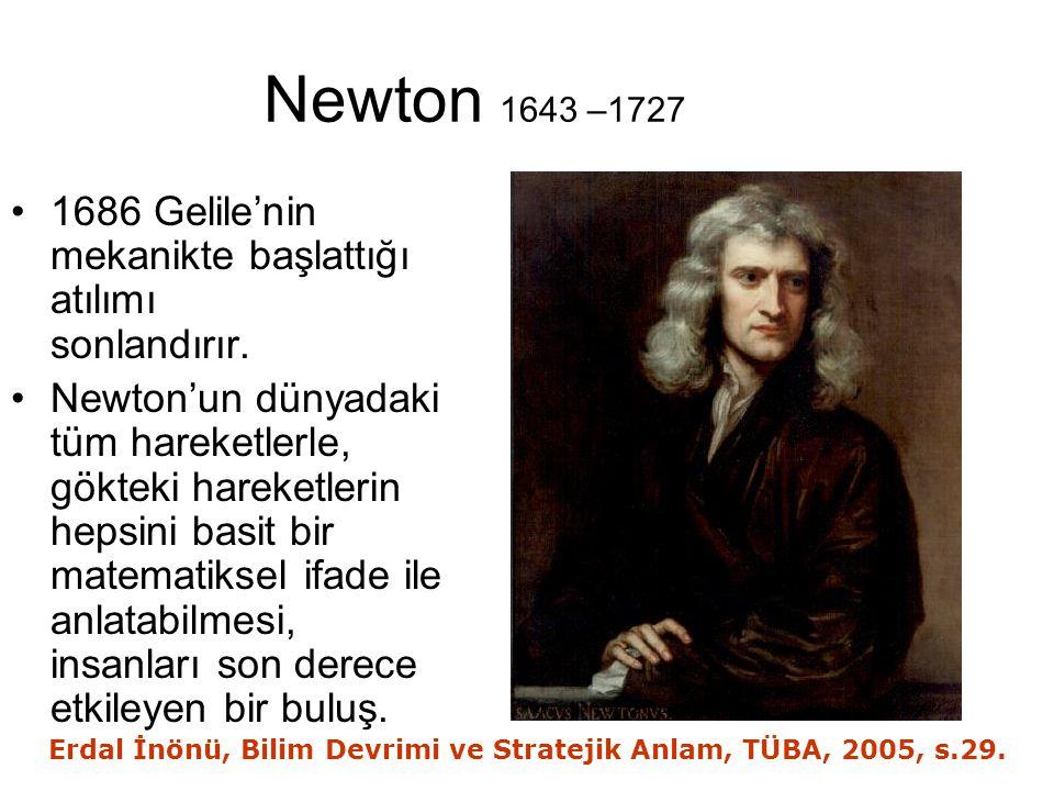 Newton 1643 –1727 1686 Gelile'nin mekanikte başlattığı atılımı sonlandırır.