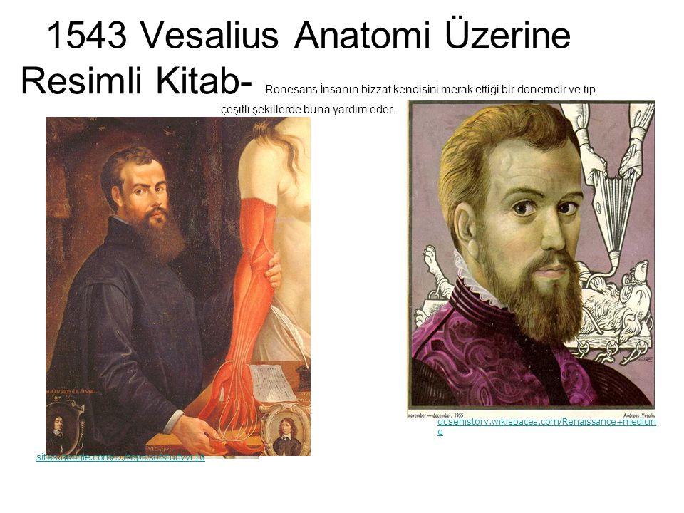 1543 Vesalius Anatomi Üzerine Resimli Kitab- Rönesans İnsanın bizzat kendisini merak ettiği bir dönemdir ve tıp çeşitli şekillerde buna yardım eder.