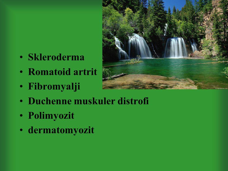 Skleroderma Romatoid artrit Fibromyalji Duchenne muskuler distrofi Polimyozit dermatomyozit