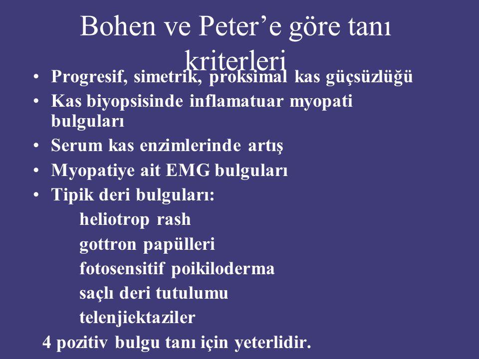 Bohen ve Peter'e göre tanı kriterleri
