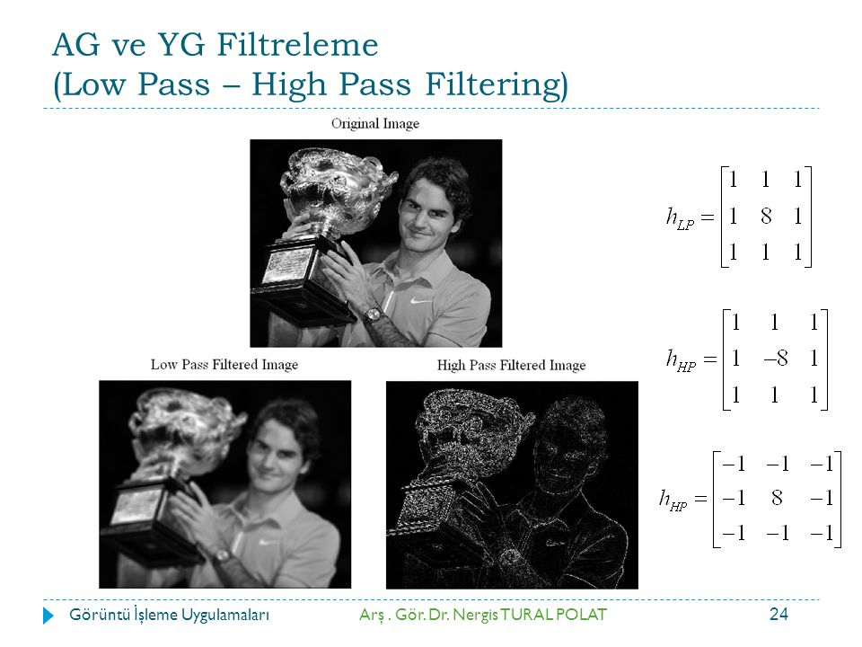 AG ve YG Filtreleme (Low Pass – High Pass Filtering)