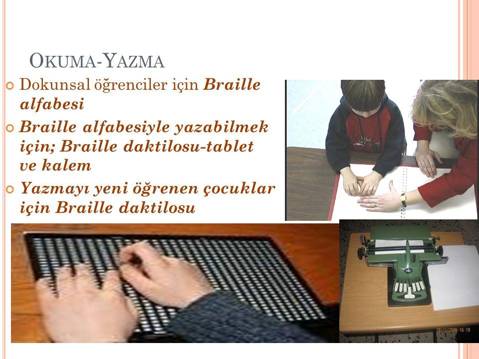 Okuma-Yazma Dokunsal öğrenciler için Braille alfabesi