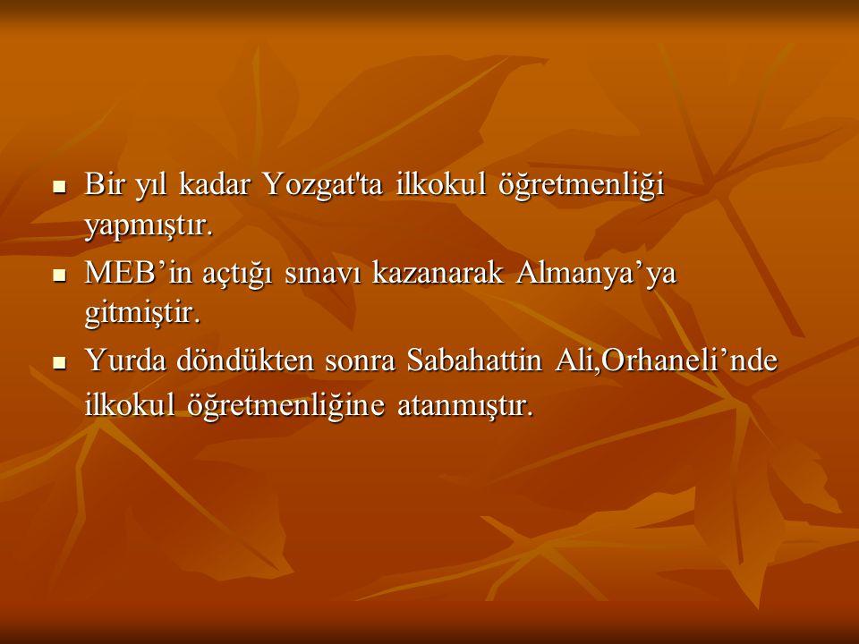 Bir yıl kadar Yozgat ta ilkokul öğretmenliği yapmıştır.