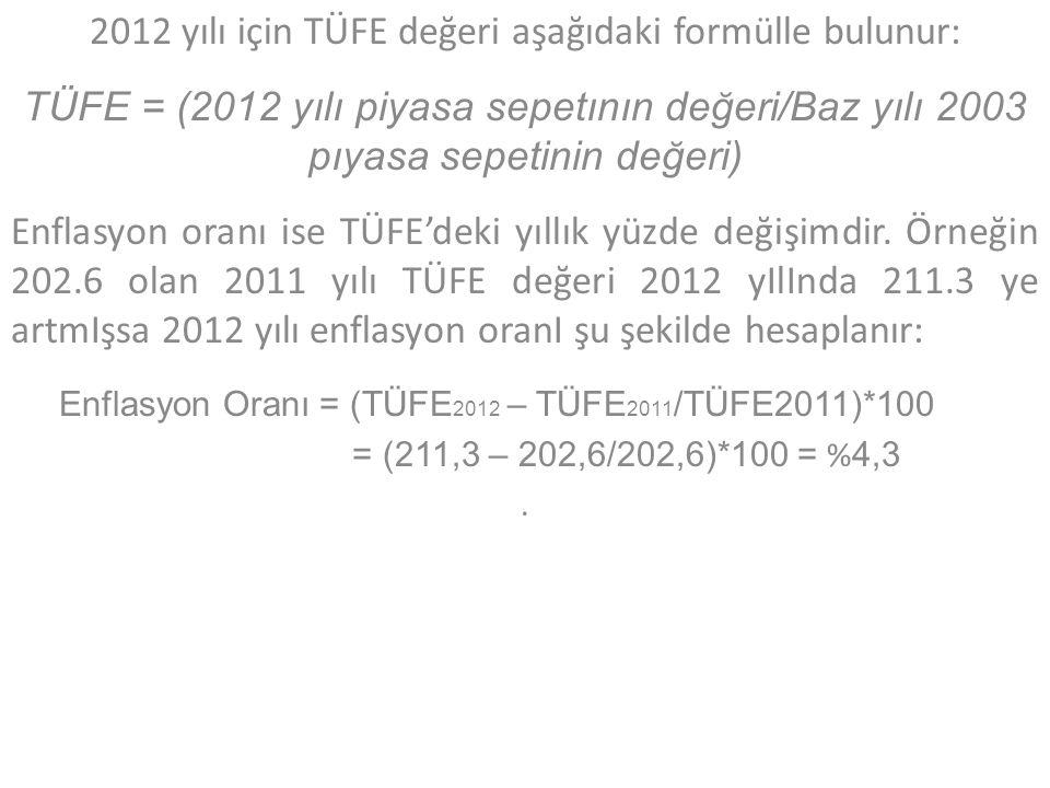 2012 yılı için TÜFE değeri aşağıdaki formülle bulunur: