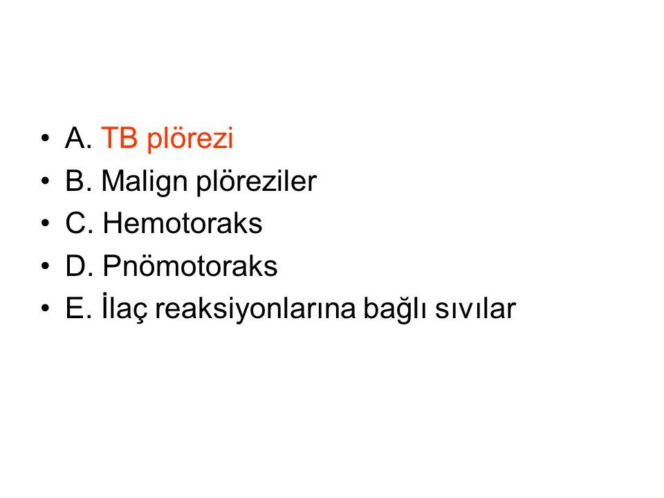 A. TB plörezi B. Malign plöreziler. C. Hemotoraks.