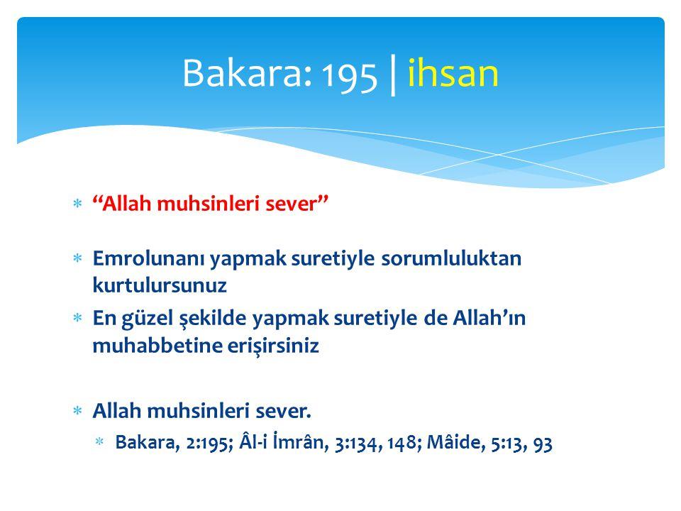 Bakara: 195 | ihsan Allah muhsinleri sever