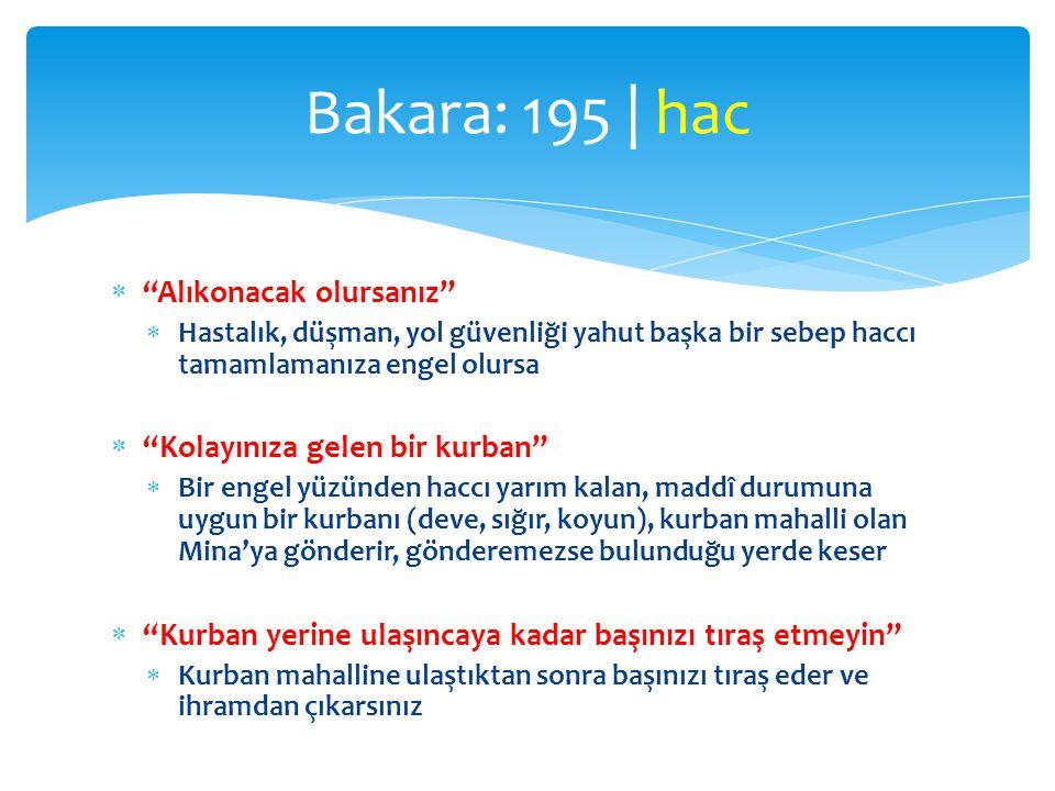 Bakara: 195 | hac Alıkonacak olursanız Kolayınıza gelen bir kurban