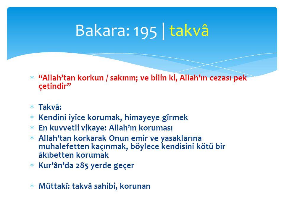 Bakara: 195 | takvâ Allah'tan korkun / sakının; ve bilin ki, Allah'ın cezası pek çetindir Takvâ: