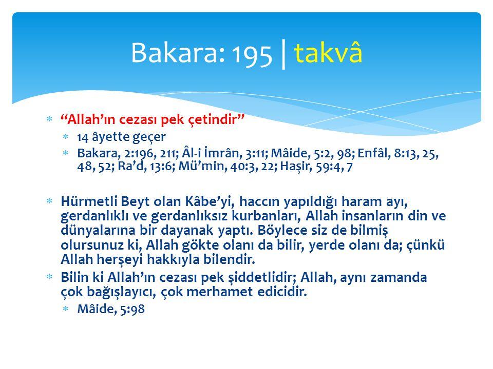 Bakara: 195 | takvâ Allah'ın cezası pek çetindir
