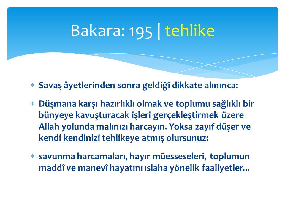 Bakara: 195 | tehlike Savaş âyetlerinden sonra geldiği dikkate alınınca: