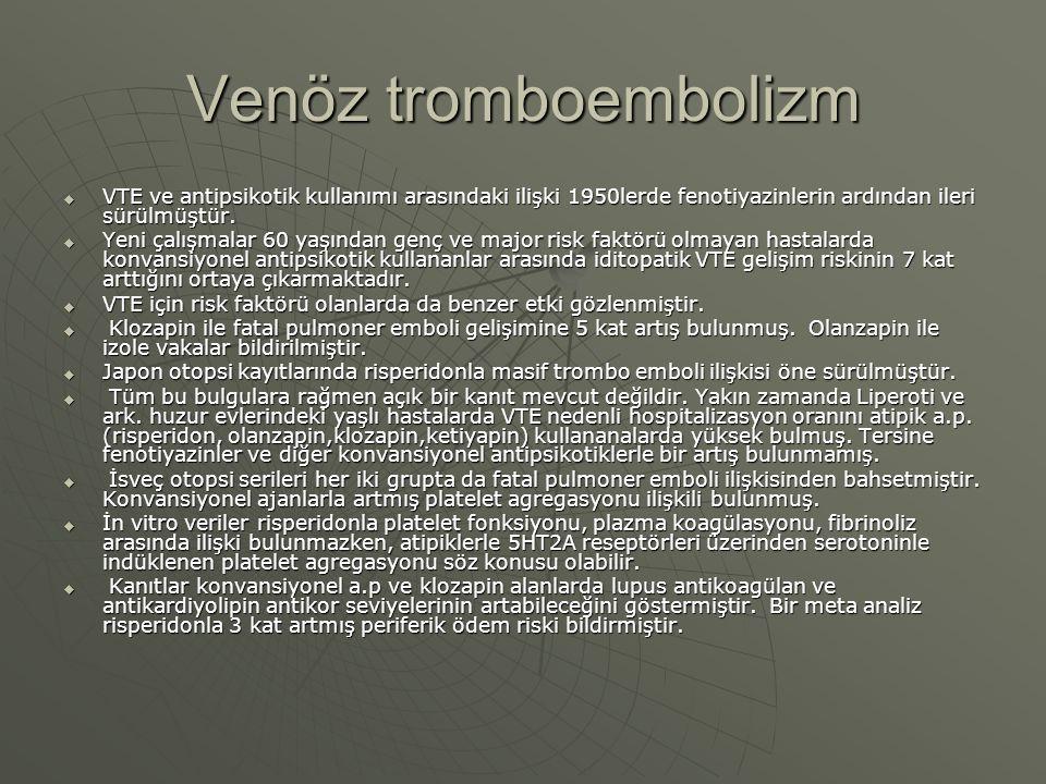 Venöz tromboembolizm VTE ve antipsikotik kullanımı arasındaki ilişki 1950lerde fenotiyazinlerin ardından ileri sürülmüştür.