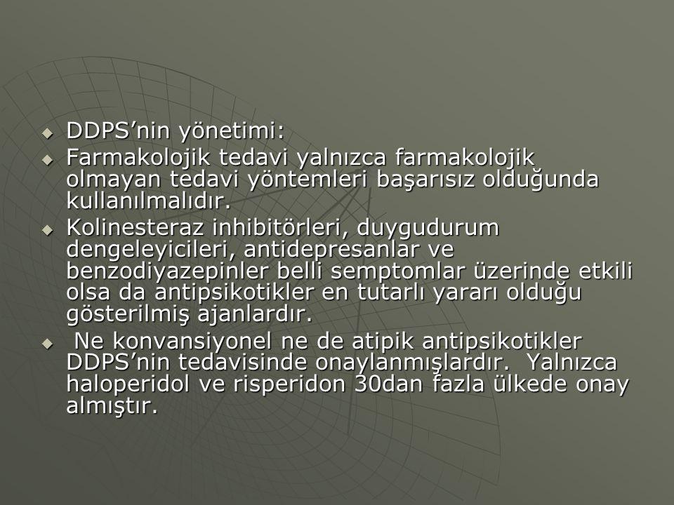 DDPS'nin yönetimi: Farmakolojik tedavi yalnızca farmakolojik olmayan tedavi yöntemleri başarısız olduğunda kullanılmalıdır.