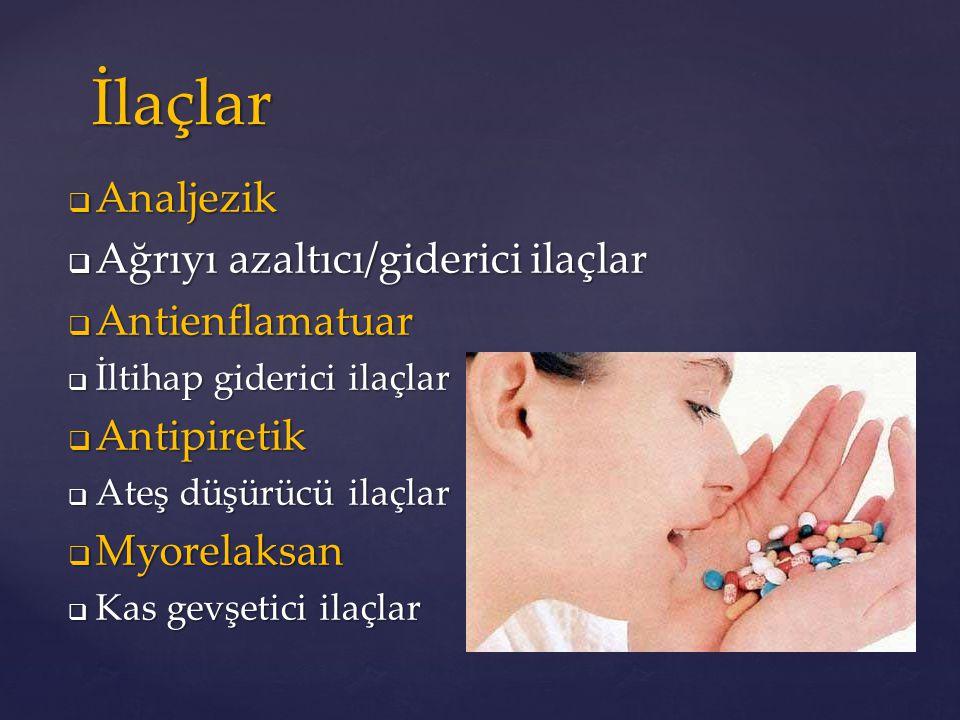 İlaçlar Analjezik Ağrıyı azaltıcı/giderici ilaçlar Antienflamatuar