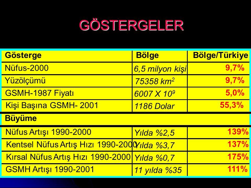 GÖSTERGELER Gösterge Bölge Bölge/Türkiye Nüfus-2000 6,5 milyon kişi