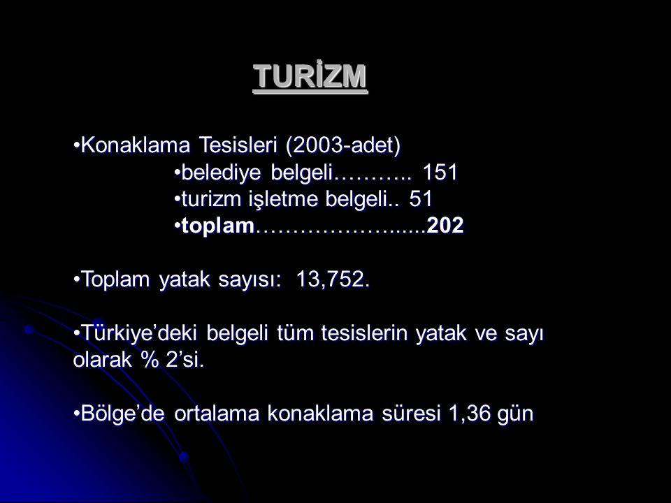 TURİZM Konaklama Tesisleri (2003-adet) belediye belgeli……….. 151