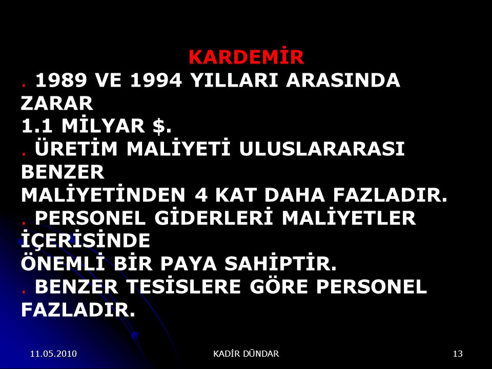 . 1989 VE 1994 YILLARI ARASINDA ZARAR 1.1 MİLYAR $.