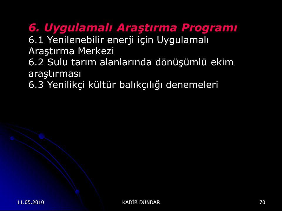 6. Uygulamalı Araştırma Programı