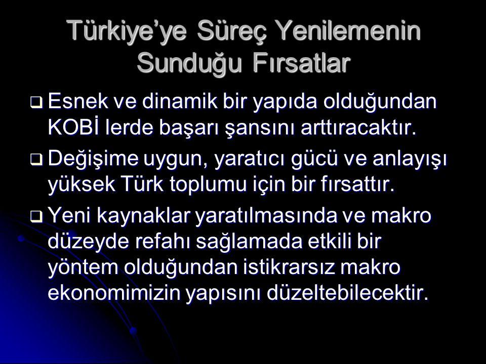 Türkiye'ye Süreç Yenilemenin Sunduğu Fırsatlar
