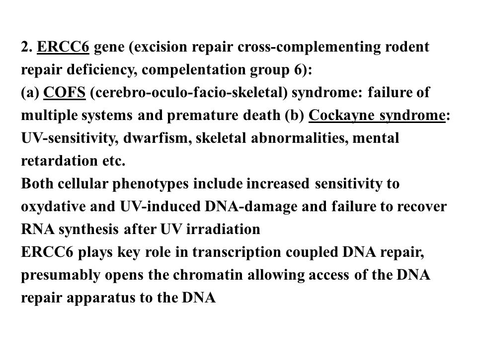 2. ERCC6 gene (excision repair cross-complementing rodent repair deficiency, compelentation group 6):