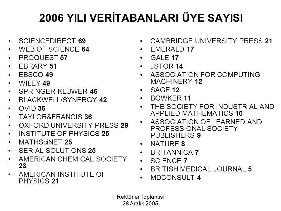 2006 YILI VERİTABANLARI ÜYE SAYISI